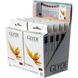 Glyde Ultra Strawberry Flavour Vegan Condoms 10 Pack