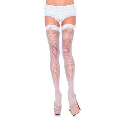 Leg Avenue Fishnet Stockings with Lace Top - Black
