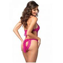 Leg Avenue Deep-V Teddy & Panty Fuchsia Pink
